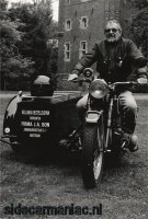 Tiny on his Hollandia Delivery-sidecar