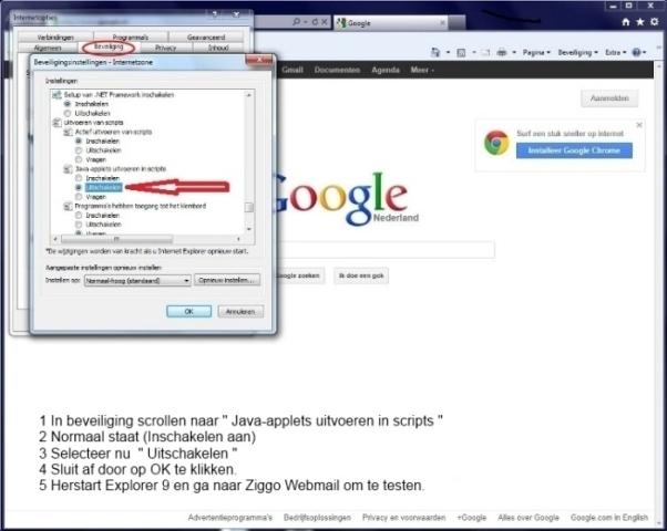 Ziggo Webmail en IE9