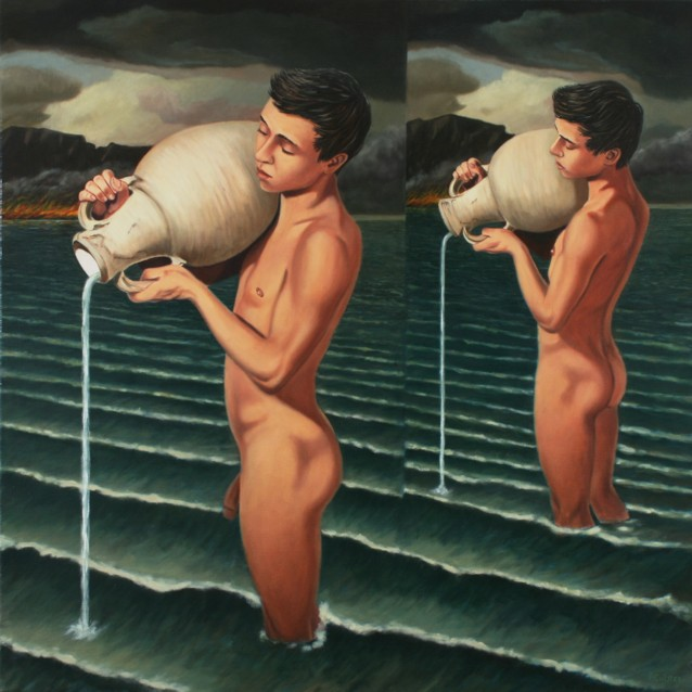 Oil painting by Peter Colstee of two nude boys standing in the water ...: http://home.planet.nl/~pcolstee/male-models.html