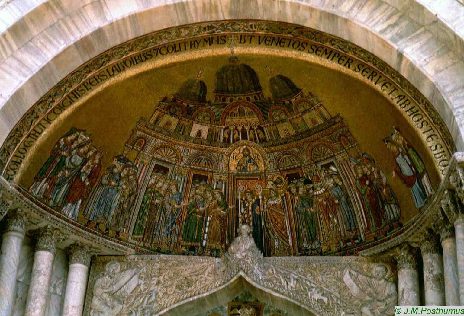 Figure 12: The body of St. Mark carried in procession into the basilica, mosaic, thirteenth century, west façade.  http://home.planet.nl/~posth144/Posthumus/Photogallery/Italy/I_pages/venezia2.htm