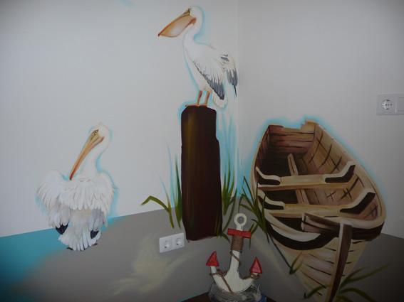 Behang Kinderkamer Strand : Dolfijn met de pelikanen uit de ...